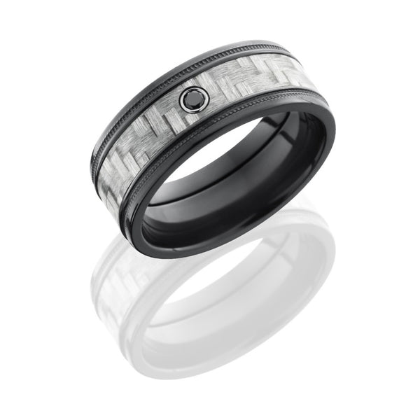 Lashbrook Carbon Fiber Polished Men's Wedding Band, Rings, Nazar's & Co. - Nazar's & Co.