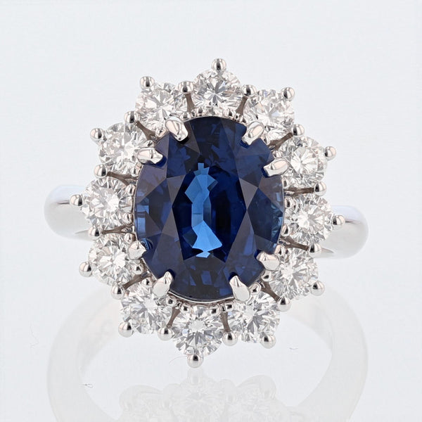 Nazarelle 18 Karat White Gold 6.46 Carat Certified Oval Vivid Blue Sapphire and Diamond Ring, Rings, Nazar's & Co. - Nazar's & Co.