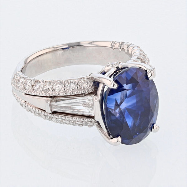 Nazarelle 18 Karat White Gold 7.28 Carat Certified Oval Vivid Blue Sapphire and Diamond Ring, Rings, Nazar's & Co. - Nazar's & Co.