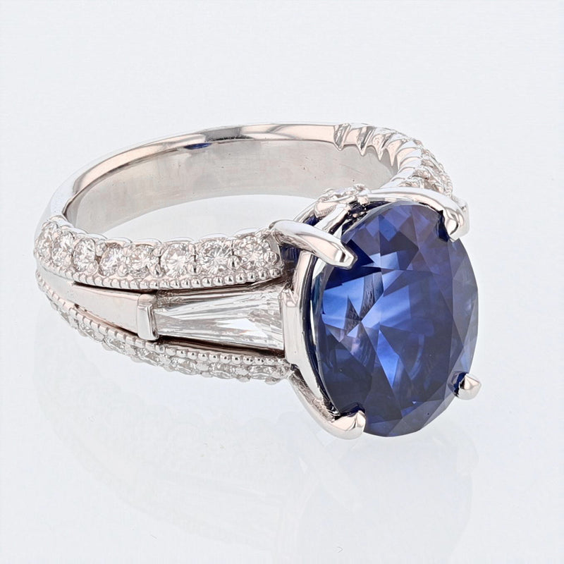 Nazarelle 18 Karat White Gold 7.28 Carat Certified Oval Vivid Blue Sapphire and Diamond Ring - Nazar's & Co.
