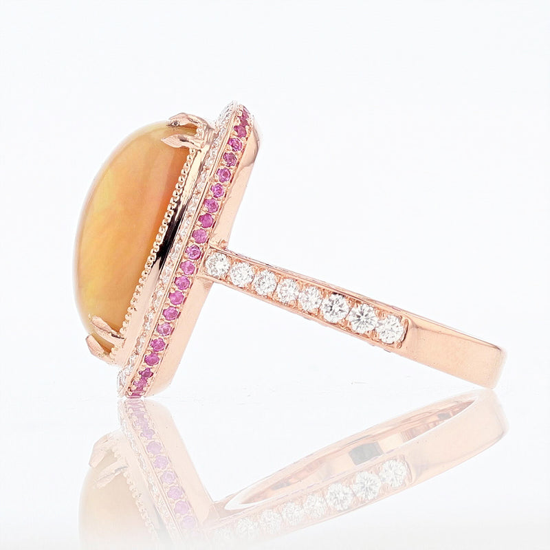 14K White and Rose Gold Cushion Opal, Pink Sapphire, and Diamond Ring - Nazar's & Co.
