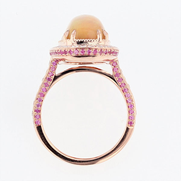 14K White and Rose Gold Cushion Opal, Pink Sapphire, and Diamond Ring, Rings, Nazar's & Co. - Nazar's & Co.
