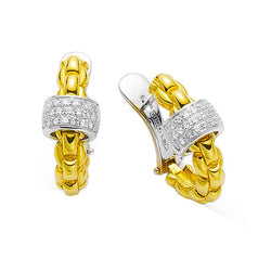 Fope Two Tone Gold and Diamond Earrings, Earrings, Nazar's & Co. - Nazar's & Co.