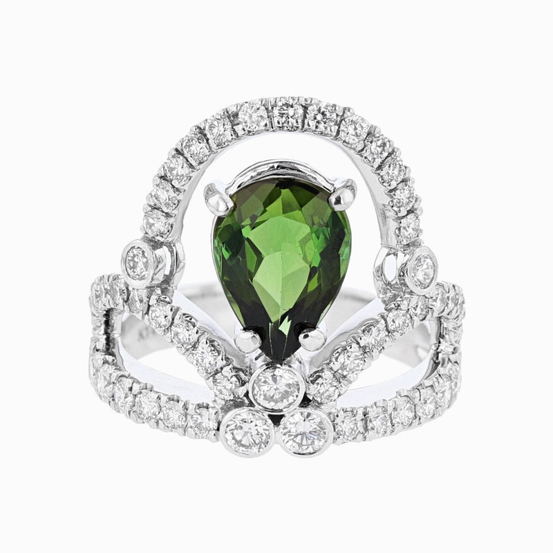 14K White Gold Green Tourmaline and Diamond Ring - Nazar's & Co.