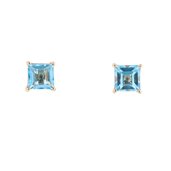 14K Yellow Gold Blue Topaz Stud Earrings, Earrings, Nazar's & Co. - Nazar's & Co.