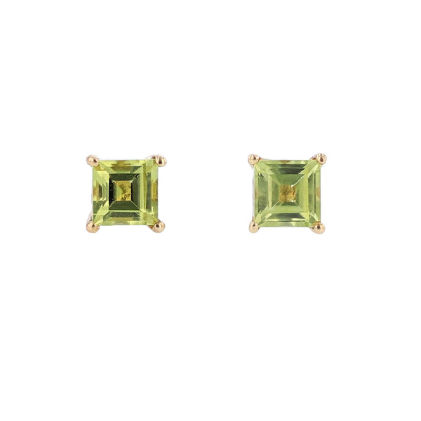 14K Yellow Gold Peridot Stud Earrings, Earrings, Nazar's & Co. - Nazar's & Co.