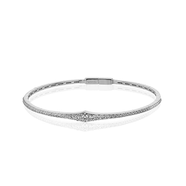 Simon G. 18K White Gold Tapered Diamond Bangle