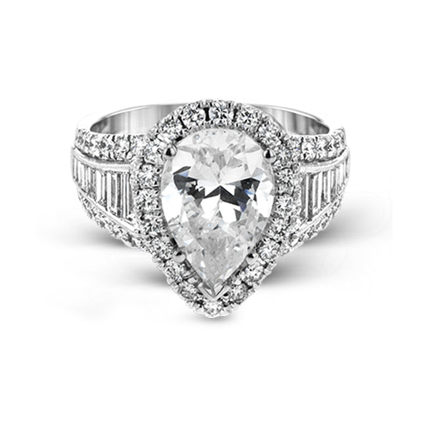Simon G. Passion Collection 18K White Gold Pear Engagement Ring Setting