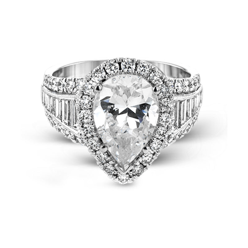 Simon G. Passion Collection 18K White Gold Pear Engagement Ring Setting, Rings, Nazar's & Co. - Nazar's & Co.