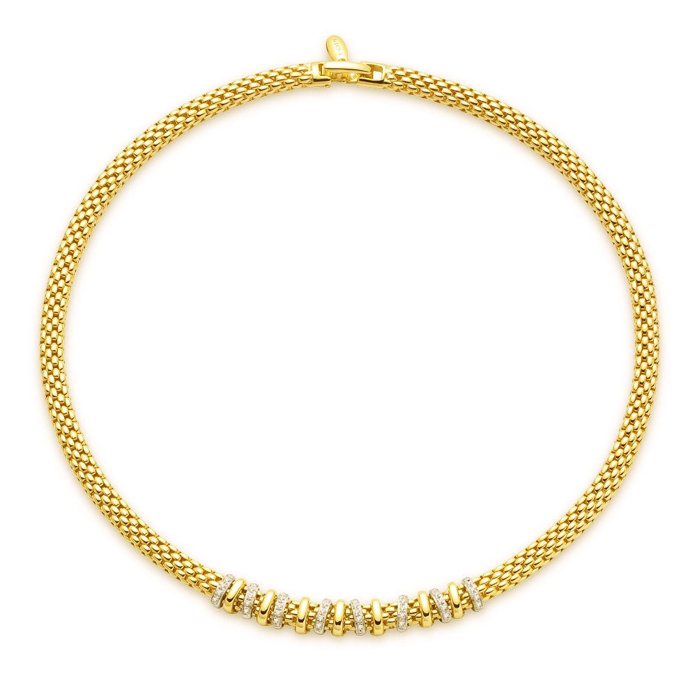 Fope Yellow Gold and Diamond Necklace, Necklaces, Nazar's & Co. - Nazar's & Co.