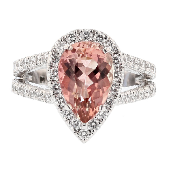 Nazarelle Platinum Pink Tourmaline and Diamond Ring - Nazar's & Co.