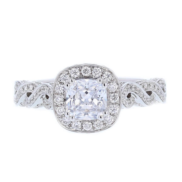 Nazarelle 18K White Gold Cushion Cut Diamond Engagement Ring Setting - Nazar's & Co.