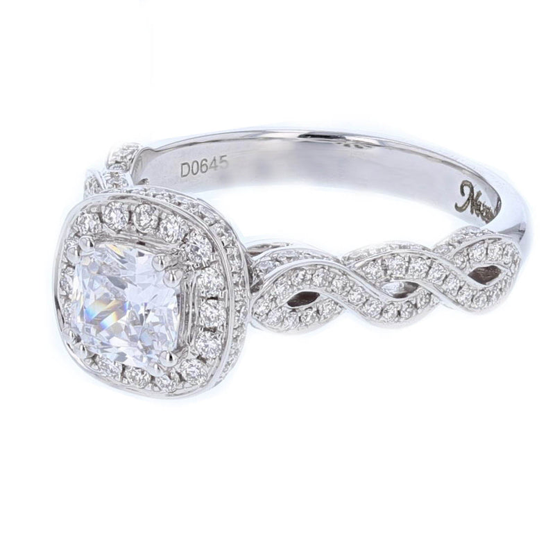 Nazarelle 18K White Gold Cushion Cut Diamond Engagement Ring Setting, Rings, Nazar's & Co. - Nazar's & Co.