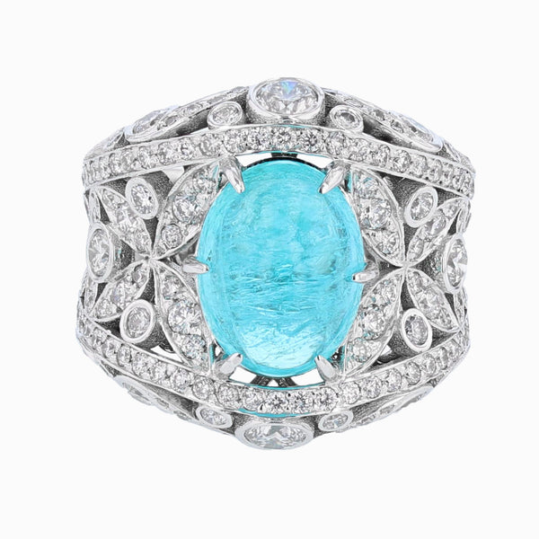 Nazarelle 18K Gold GIA 5.27 Carat Brazil Paraiba Tourmaline and Diamond Ring - Nazar's & Co.