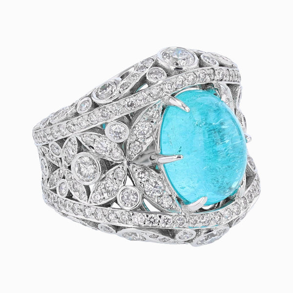 Nazarelle 18K Gold GIA 5.27 Carat Brazil Paraiba Tourmaline and Diamond Ring, Rings, Nazar's & Co. - Nazar's & Co.
