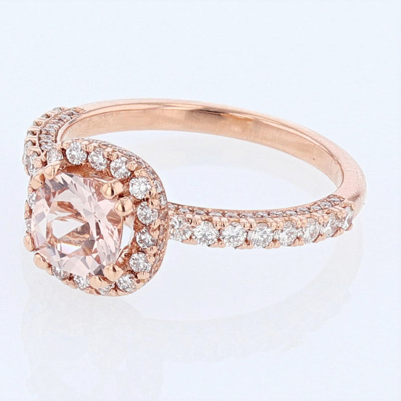 Nazarelle 14K Rose Gold Cushion Morganite and Diamond Engagement Ring Setting, Rings, Nazar's & Co. - Nazar's & Co.