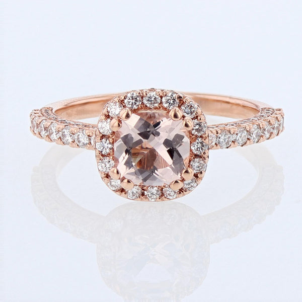 Nazarelle 14K Rose Gold Cushion Morganite and Diamond Engagement Ring Setting - Nazar's & Co.