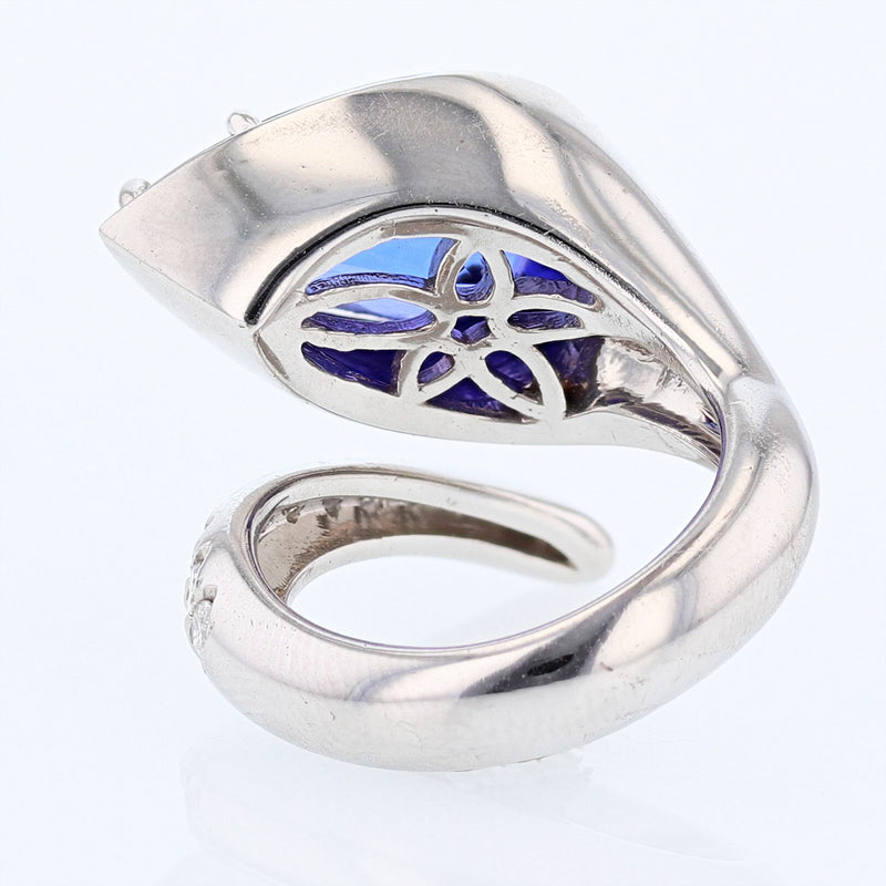 14K White Gold 7.10 Carat Pear Tanzanite and Diamond Ring, Rings, Nazar's & Co. - Nazar's & Co.