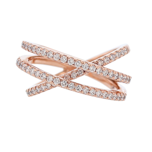 Nazarelle 14K Rose Gold Criss Cross Diamond Ring - Nazar's & Co.