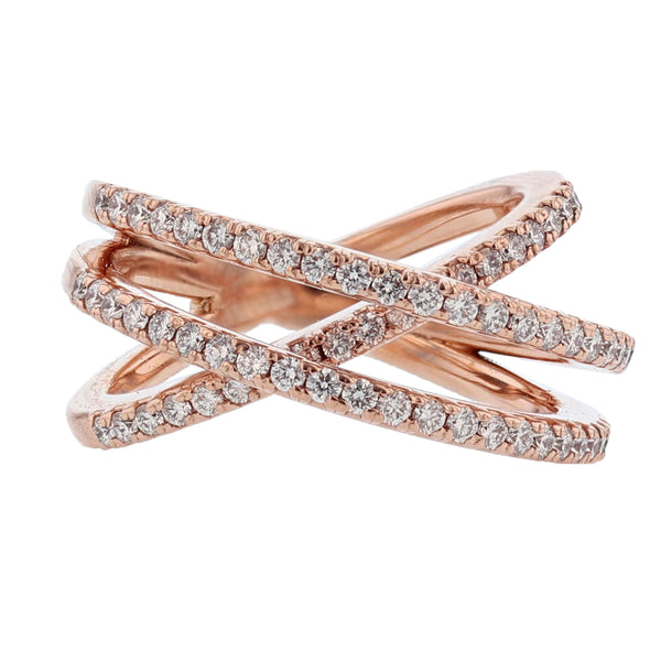 Nazarelle 14K Rose Gold Criss Cross Diamond Ring, Rings, Nazar's & Co. - Nazar's & Co.