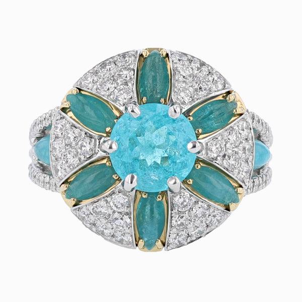 Nazarelle 18K Gold GIA 1.41C Brazilian Paraiba Tourmaline and Diamond Ring, Rings, Nazar's & Co. - Nazar's & Co.