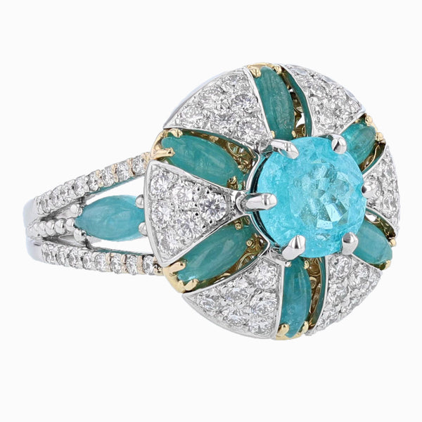 Nazarelle 18K Gold GIA 1.41C Brazilian Paraiba Tourmaline and Diamond Ring - Nazar's & Co.