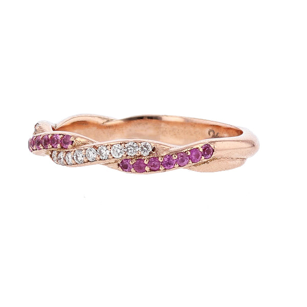 Nazarelle 14K Rose Gold Diamond and Pink Sapphire Twist Band - Nazar's & Co.