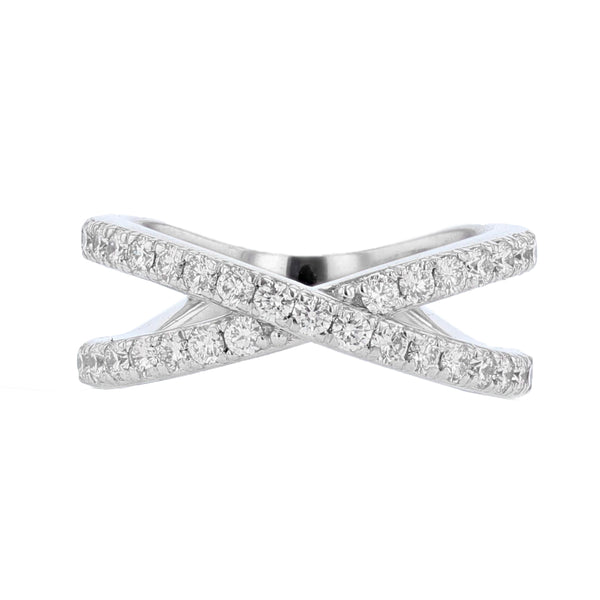 Nazarelle 18K White Gold Criss Cross Diamond Ring - Nazar's & Co.