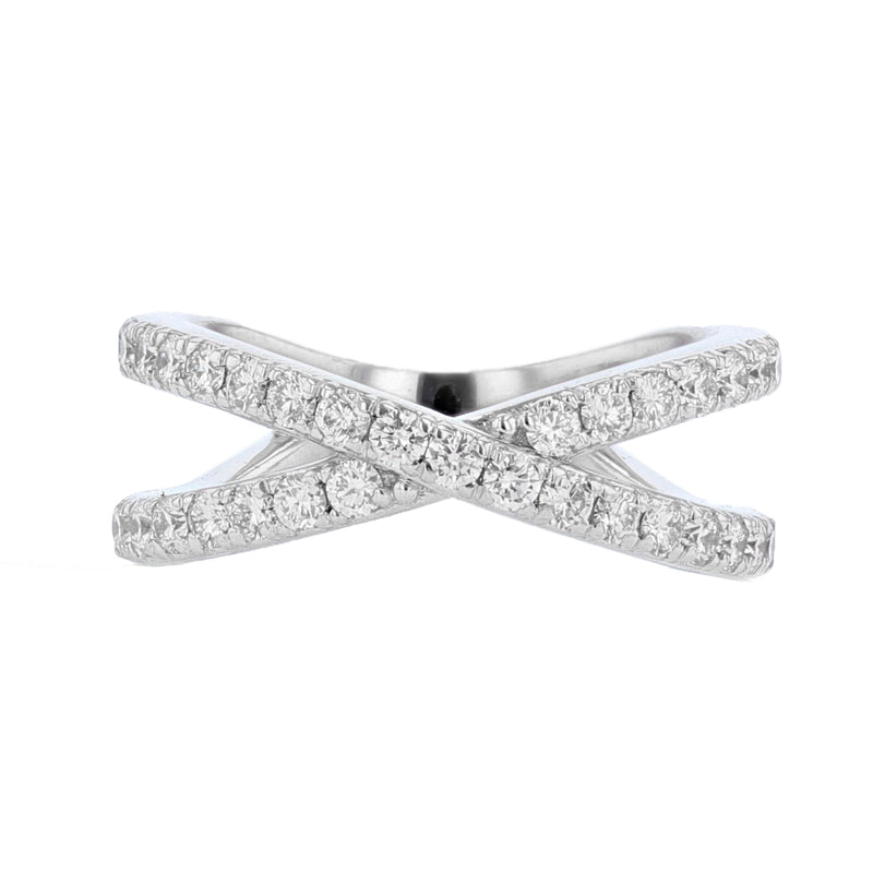 Nazarelle 18K White Gold Criss Cross Diamond Ring, Rings, Nazar's & Co. - Nazar's & Co.