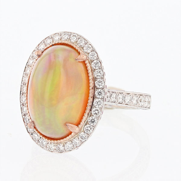 14K White and Rose Gold Oval Opal, Pink Sapphire, and Diamond Ring - Nazar's & Co.