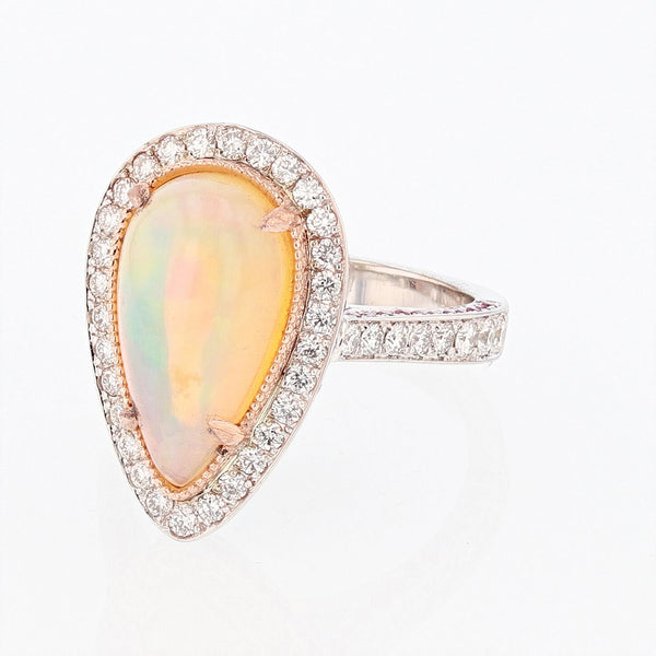 14K White and Rose Gold Pear Opal, Pink Sapphire, and Diamond Ring, Rings, Nazar's & Co. - Nazar's & Co.