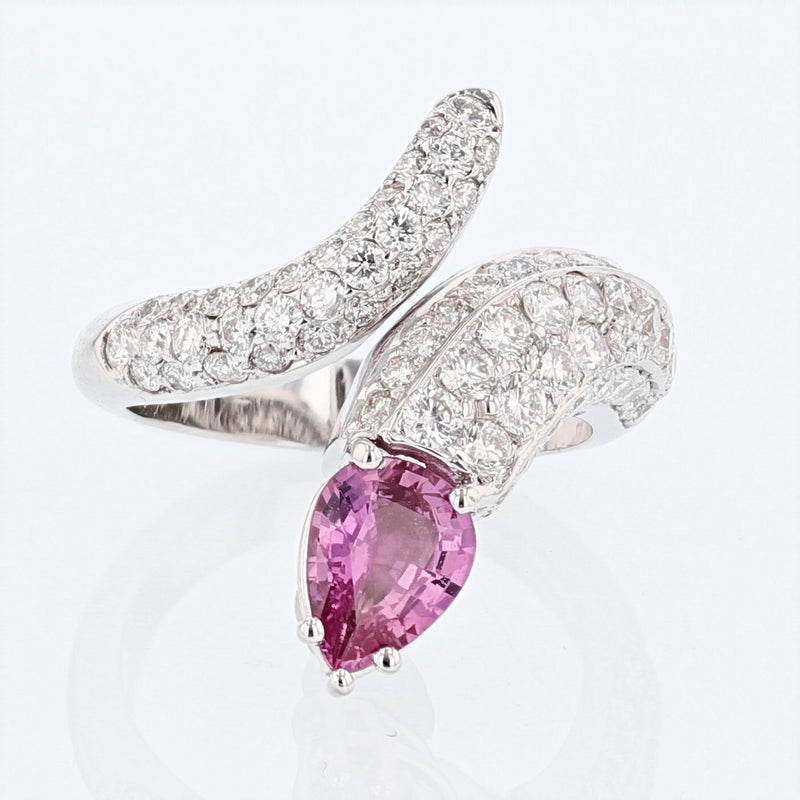 14K White Gold Pink Sapphire and Diamond Snake Ring - Nazar's & Co.