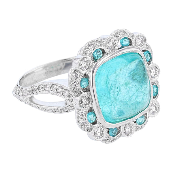 Nazarelle 18K Gold 6.62C Cabochon Paraiba Tourmaline and Diamond Ring, Rings, Nazar's & Co. - Nazar's & Co.