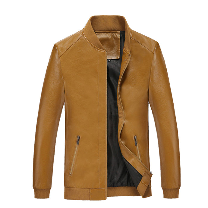 Faux Leather Plain Bomber - One Dapper Gent