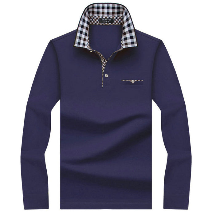 Inner Cheque Long Sleeve Polo - One Dapper Gent