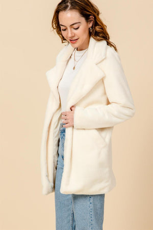 Open Front Faux Fur Coat - Black and Ivory