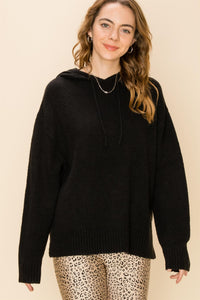 Black Knit Sweater Hoodie