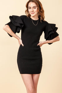 Black Ruffle Sweater Dress