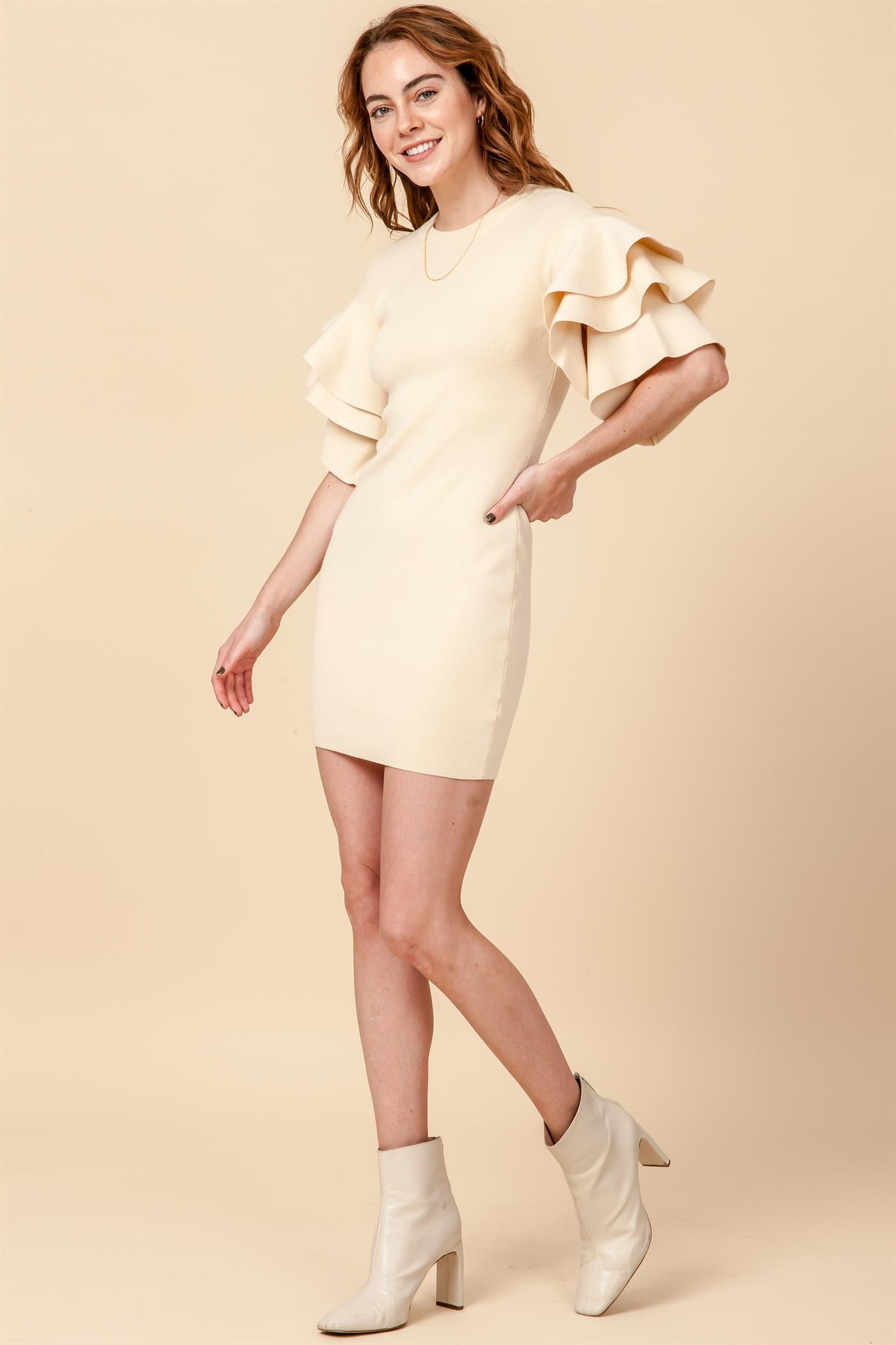 Ivory Ruffle Sweater Dress