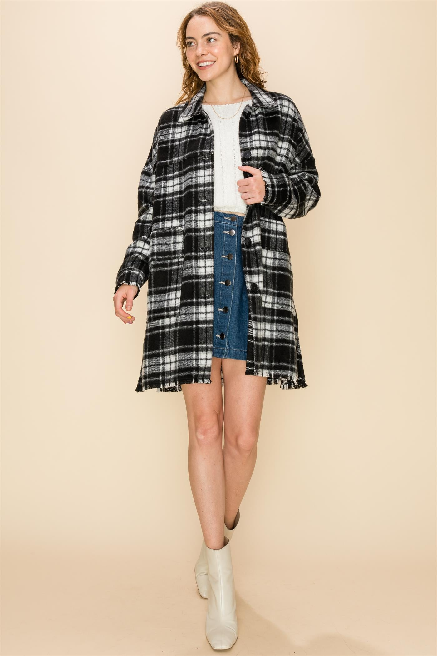 Long Black/White Plaid Jacket