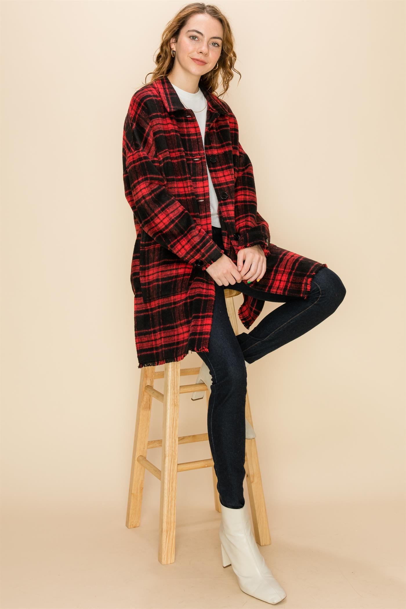 Long Black/Red Plaid Jacket