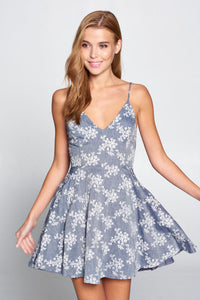 Denim Floral Dress