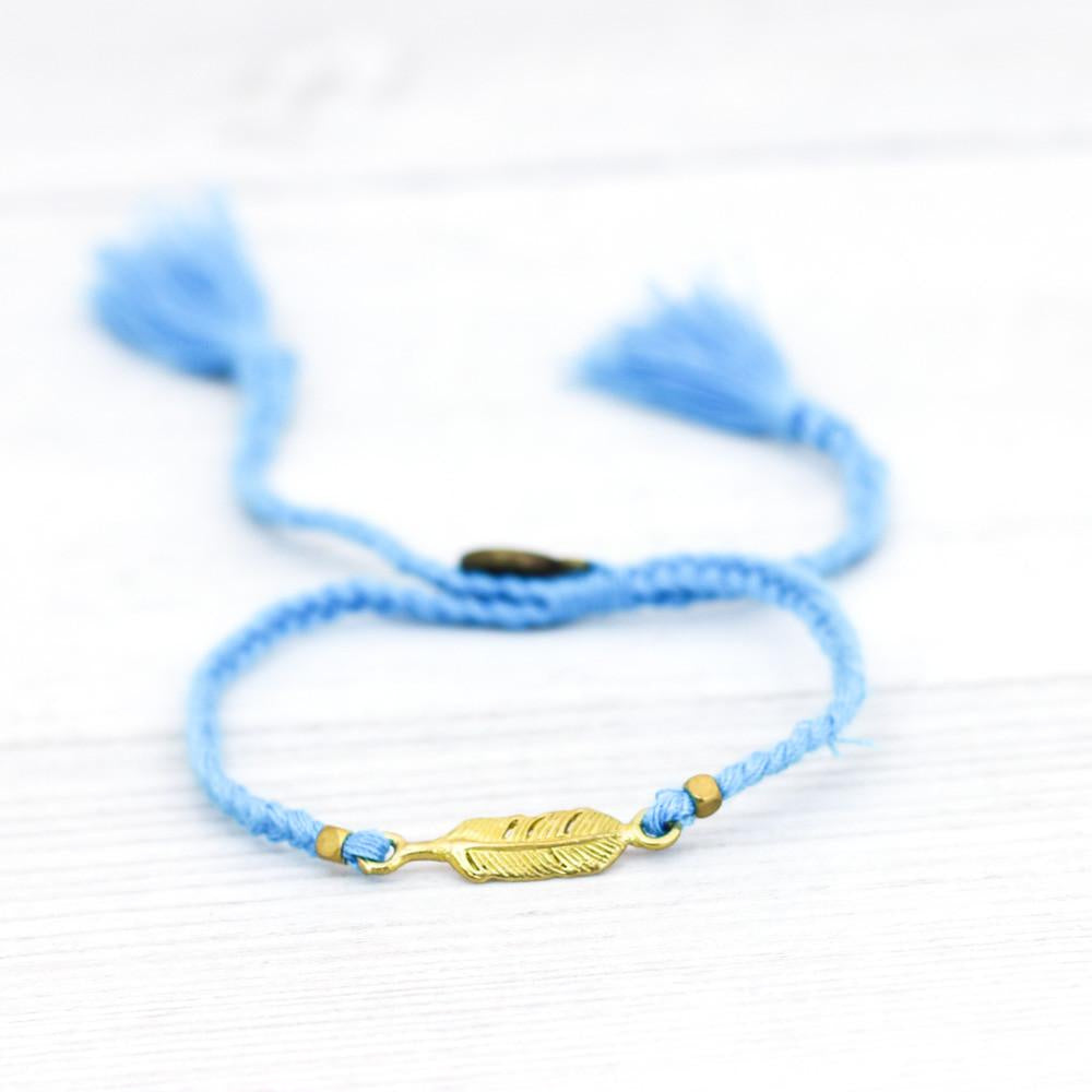 Handmade Feather Tassel Bracelet Blue (tst 10)