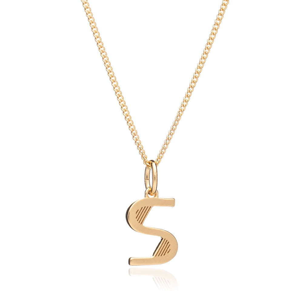 Rachel Jackson: Initial Art Deco Necklace Gold S