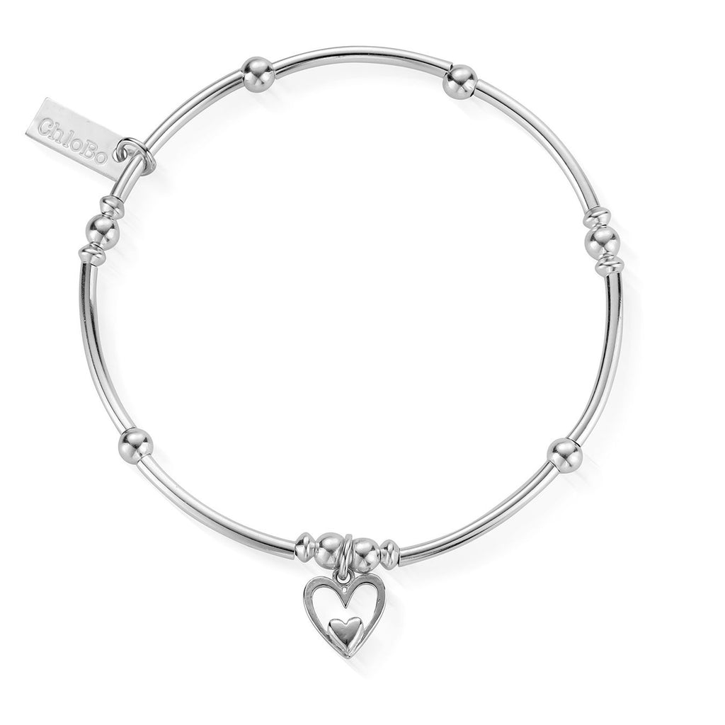 ChloBo Mini Noodle Ball Heart in Heart Bracelet Silver