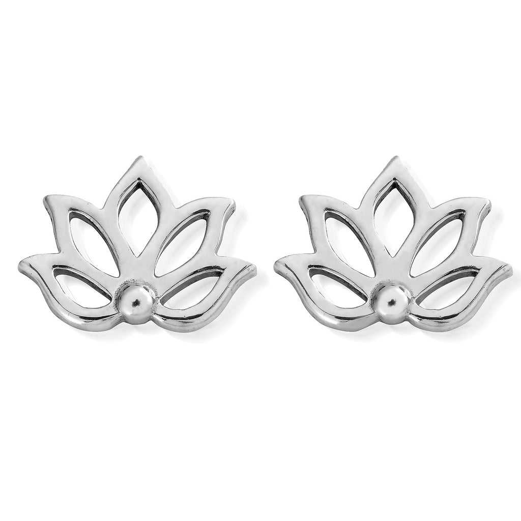 ChloBo Lotus Stud Earrings silver