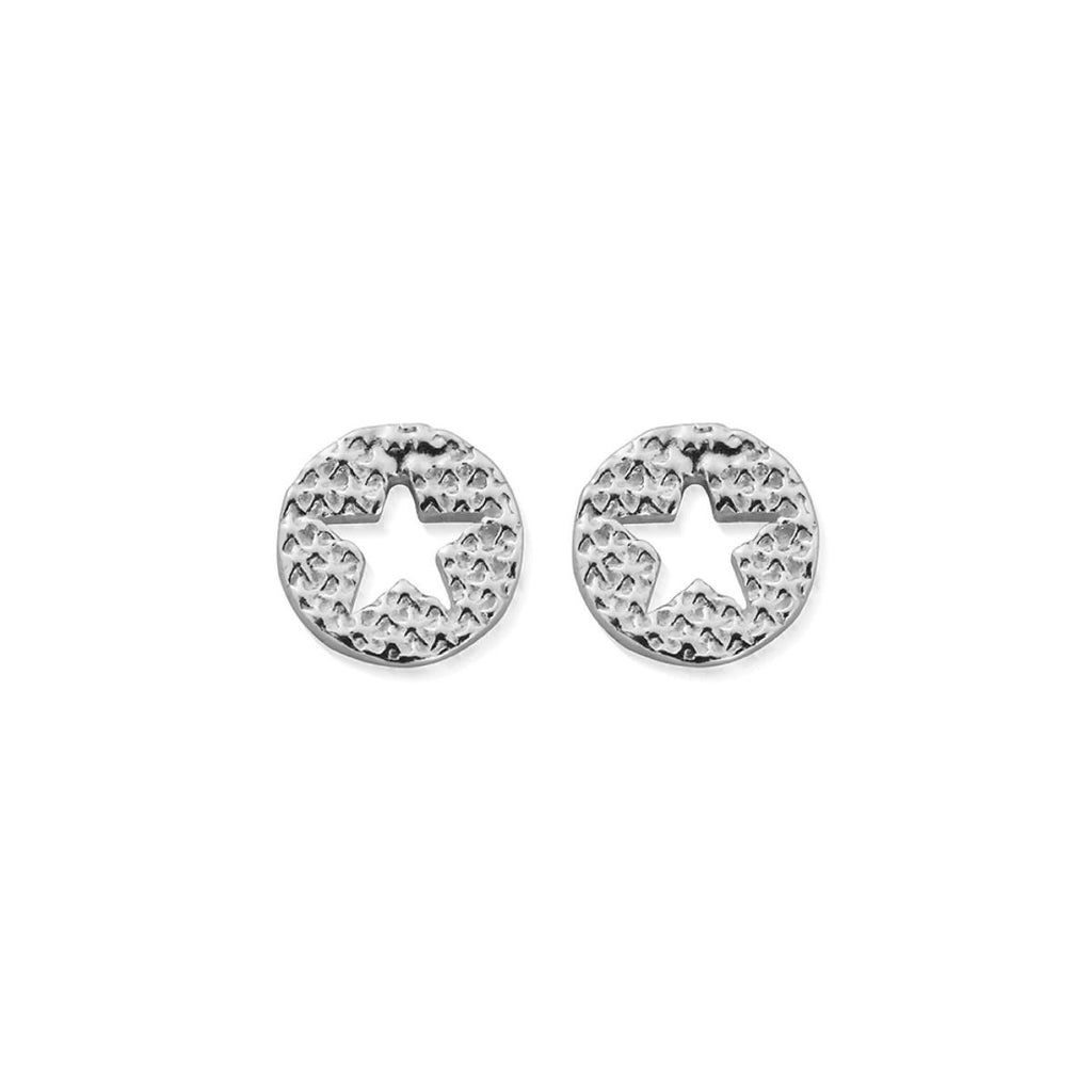 Chlobo Sparkle Star in Circle Earrings Silver