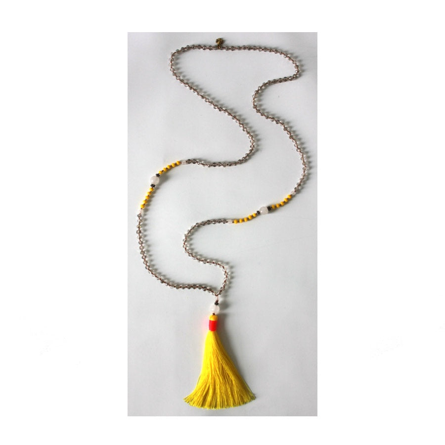 Tribe & Fable: Tassel Necklace Bright Yellow