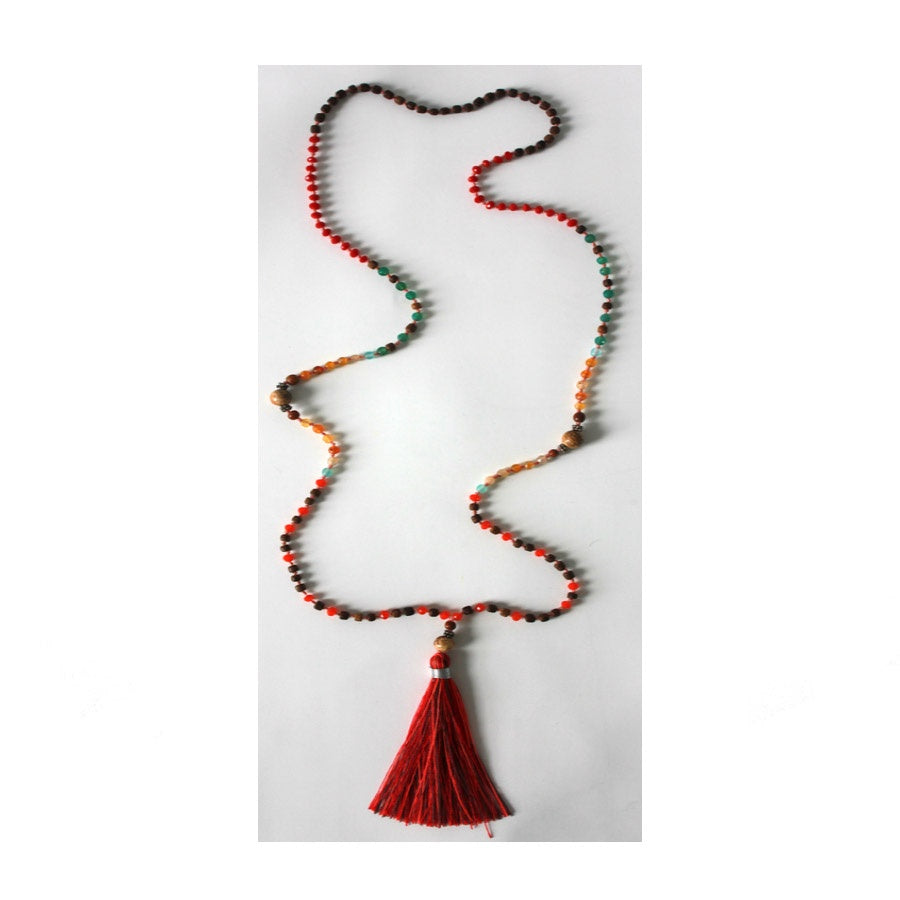Tribe & Fable: Tassel Necklace Red