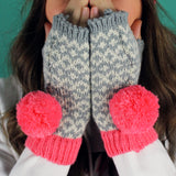 Miss Pom Pom Graphic Fingerless Pink